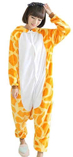 DEMU Adult Pyjama Cosplay Jumpsuit Einteiler Body Schlafanzug Tier Karneval Cosplay Fleece Giraffe M
