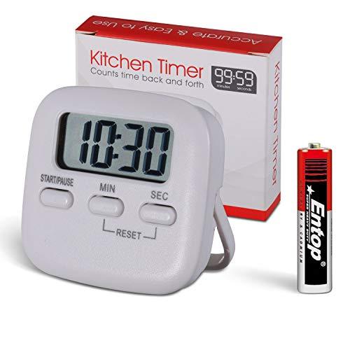KWOKWEI Digitaler Küchentimer, Kurzzeitwecker mit Timer StoppUhr Funktion, Elektronischer Timer mit Magnetischer Rückseite, Küchenwecker Eieruhr Lauter Alarm mit LCD Anzeige für Kochen, Backen, Sport