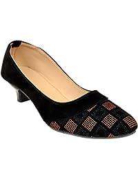 Altek Designer Black & Brown Heel Ballerina For Women (foot_1396_brown_p175)
