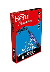 Berol Dry Wipe Whiteboard Marker Bullet Nib 2mm - Assorted Colours (Box of 8)