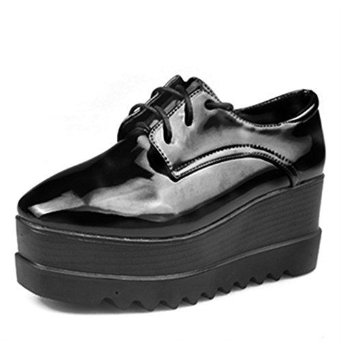 Fashion Lady tête épaisse semelle chaussures d'Angleterre/liens occasionnels/Chaussures en cuir verni A