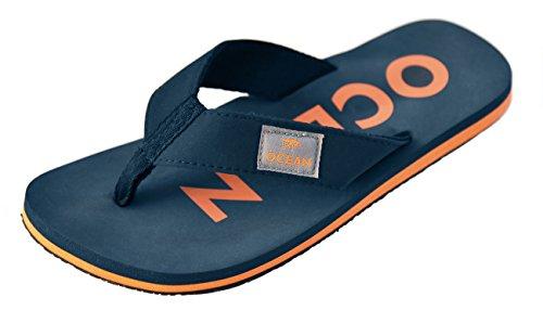MADSea Damen Herren Zehenstegpantolette Ocean Zehentrenner Sandale blau orange, Farbe:dunkelblau, Größe:37 EU