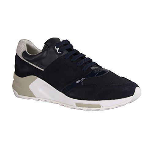 Geox Damenschuhe D724DA Phyteam Sportlicher Damen Sneaker, Wedgesneaker, Schnürhalbschuh mit verstecktem Keilabsatz im Schuh Navy/Silver