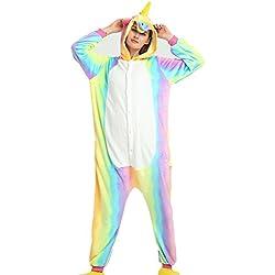 Misslight Flanela Unicornio Cosplay Pijamas Animal Novedad Carnaval Disfraz Halloween Juguetes y Juegos Navidad Pijamas Adultos Ropa De Noche (M, Rainbow)
