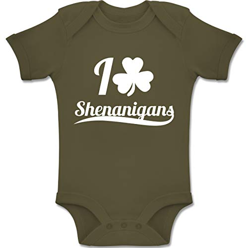 Up to Date Baby - I Heart Shenanigans - St. Patricks Day - 12-18 Monate - Olivgrün - BZ10 - Baby Body Kurzarm Jungen Mädchen (Oma Kostüme Irland)