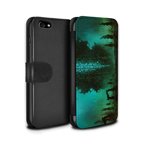 Offiziell Chris Cold PU-Leder Hülle/Case/Tasche/Cover für Apple iPhone 7 / Rest Muster / Fremden Welt Kosmos Kollektion Alien Landschaft