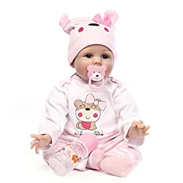 Crewell NPK 55,9 cm Lifelike Silicone Reborn Baby Doll Toy Realistic Newborn Dolls for Kids Playmat Gift