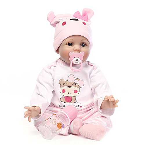 Crewell NPK 55,9cm lebensecht Silikon Reborn Baby-Puppe Spielzeug Realistische Neugeborene Puppen für Kinder Spielteppich Geschenk