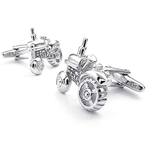 Rhodium Plated Cuff-links, Men's Cuff-links Elegant Tractor Silver Height 22 MM Width 20 MM Epinki