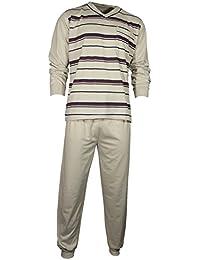075e997247 Lavazio Herren Schlafanzug Pyjama Zweiteiler lang 2-TLG mit V-Ausschnitt in  3 Farben…