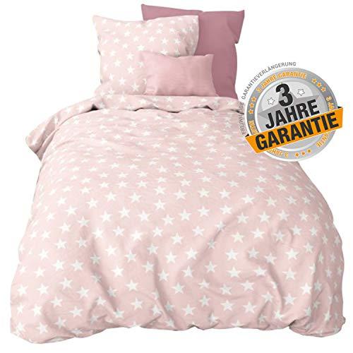 Aminata kids Bettwäsche Stern-Motiv 155x220 cm + 80x80 cm aus Baumwolle mit Reißverschluss, unser Bettbezug mit Sterne, rosa, Rose & weiß ist weich und kuschelig