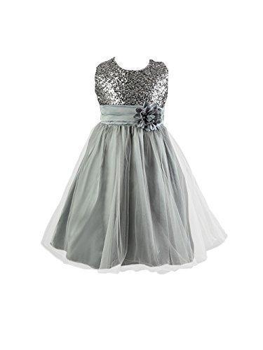Live it style it - abito da principessa senza maniche, con paillettes e fiore, formale, per festa di nozze, damigella d'onore silver 2-3 anni