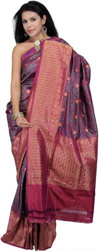 Exotic India Silk Saree (Saw15 _Festival Fuchsia And Green)