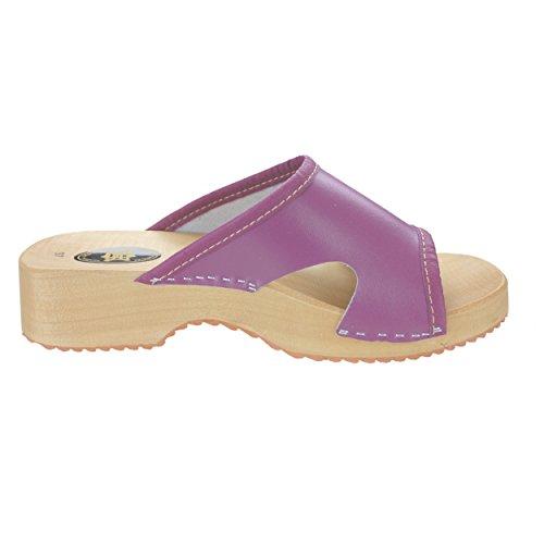 Damen Clogs Holzschuhe Leder Holz Pantoletten mit Absatz Sandalen Bunte Farben Violett