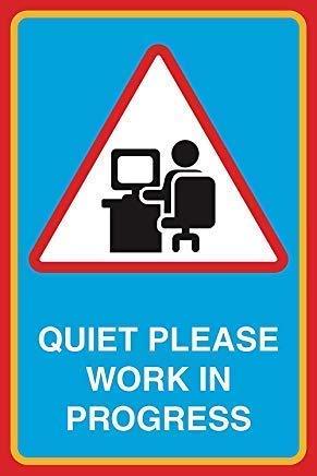 """TammieLove \""""Quiet Please Work in Progress, großes Hinweisschild für Schule, Büro, Geschäftsleben für drinnen und draußen, Metallschild, 20,3 x 30,5 cm"""