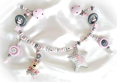 Kinderwagenkette für Mädchen mit Wunschnamen - Geschenk zur Taufe, Geburt (Rosa, Grau, Weiß)