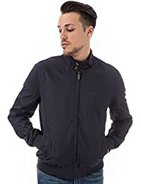 Ben Sherman Mens Classic Harrington Jacket in Navy- Zip Fastening- Ribbed Cuffs