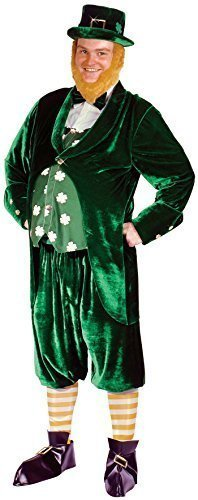 Outfits Irish (Herren Deluxe, grün, 7-teilig, für St. Patricks Day Kobold-Lepricorn Irish Kostüm)