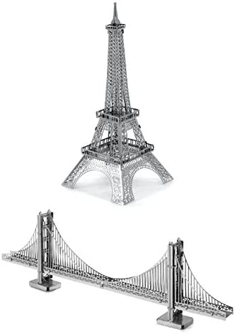 Metal Earth Fascinations Eiffel Tower et Golden Gate Bridge Puzzle 3D en métal, modèles découpés au laser | Avec Une Réputation De Longue Date