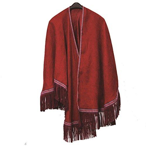 Donna Sciarpa Signore Cotone Caldo Con Frange Del Capo Red