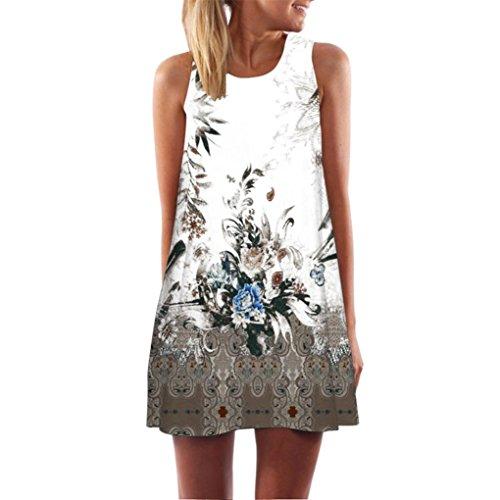 Damen Kleider Frauen Vintage Boho Sommerkleider Ärmelloses Strand Gedruckt kurze Minikleid A Line Abendkleid Swing Casual T-Shirt Kleid Großen Größen Partykleid Cocktailkleid (S, Sexy Braun)