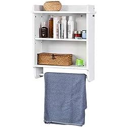 SoBuy® FRG239-W Étagère murale, 3 niveaux + 1 barre suspendue au fond pour Salle de bain, Cusine, etc. L50cmxP20cmxH60cm, Blanc