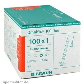 OMNIFIX Duo 100 Insulin Einmalspritzen, 100X1 ml