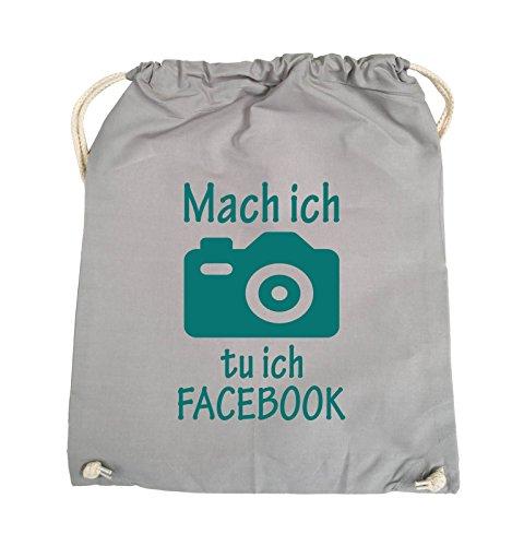 Borse Commedia - Fare Foto Che Faccio Facebook - Fotocamera - Turnbeutel - 37x46cm - Colore: Nero / Luce Grigio Argento / Turchese