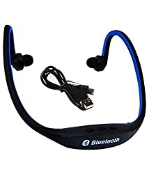 Wireless Bluetooth On-ear Sports Headset Headphones ,mp3 Jogging player (with Micro Sd Card Slot and FM Radio) BLUE BS19C By JOKIN