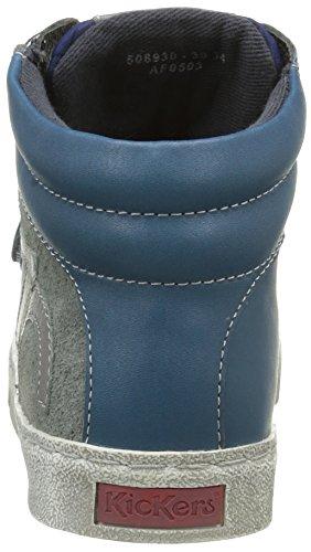 Kickers Custom, Baskets Hautes Garçon Bleu (Bleu/Gris)
