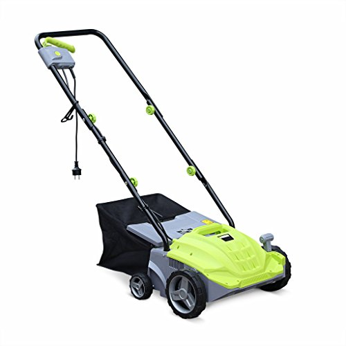 Alice's Garden - VOLTR - Scarificateur électrique gazon 1500W - Outil 2en1 aérateur et démousseur pelouse, 2 rouleaux : couteaux et griffe, collecteur 30L, entretien herbe
