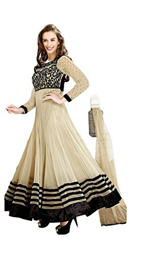 SS Global Women's Faux Georgette Anarkali Suit Dress Material (Chiku_HNSEVLN0...  available at amazon for Rs.449