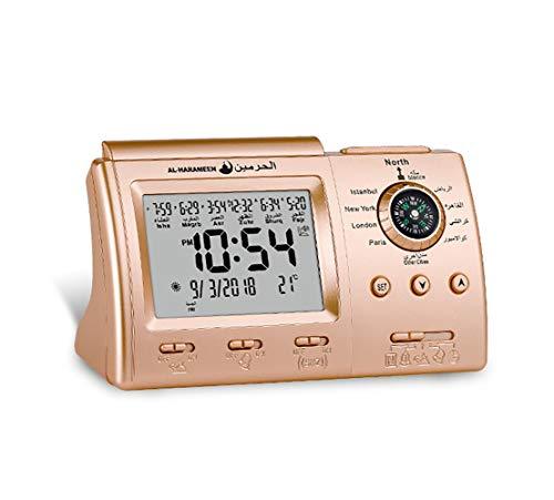 ZUZU Tischuhr Beten Islamischen Azan Uhren Gebet Unterstützung Kompass Kalender Desktop Wecker Für Zu Hause Raumdekoration,B (Islamische Gebet-kalender Das)