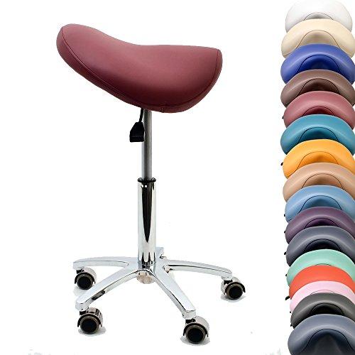 Promafit Sattelhocker/Sattelstuhl mit Gummirollen für alle Böden und Metallfuß - ergonomisch - stufenlos höhenverstellbar - viele Farben - 360° drehbar (Burgund, Ohne Fußring)