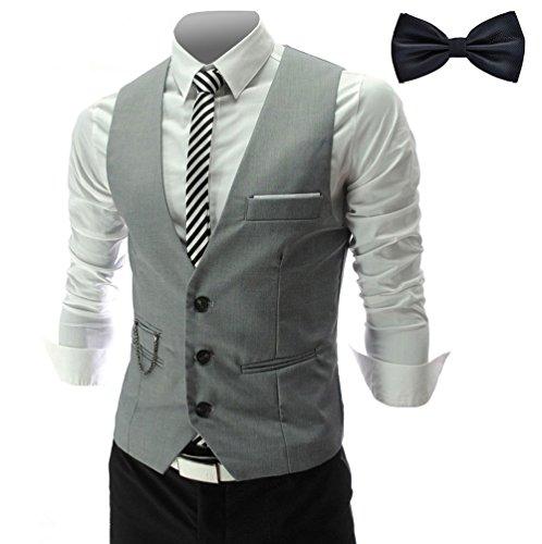 YaoDgFa Herren Weste Anzug + Fliege Smoking Sakko Anzugweste Herrenweste Herrenanzug slim fit Hochzeit feierlich Elegant- Gr. XX-Large, Grau