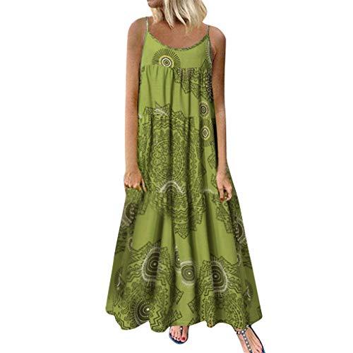 COZOCO Mujer Verano De Playa Vestido De Verano Vestido Verano Mujer Camiseta AlgodóN Casual Tallas Grandes Vestido De Tallas Grandes De Playa(Verde,EU-38/CN-L)