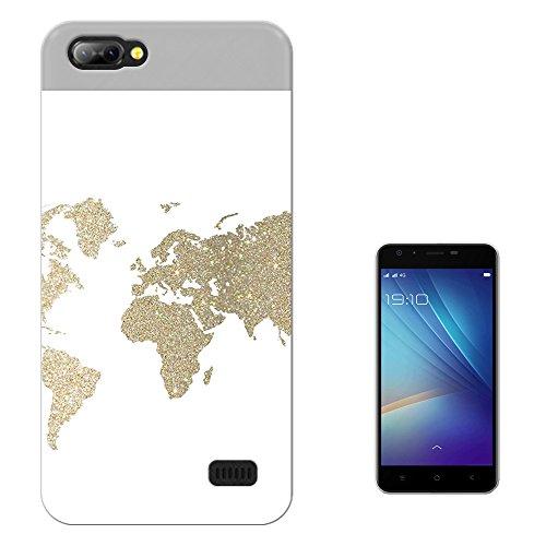 002878 - Gold Glitter Style World Map Atlas Design Blackview