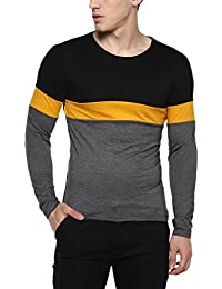 Urbano Fashion Men's Black, Yellow, Grey Round Neck Full Sleeve Cotton T-Shirt