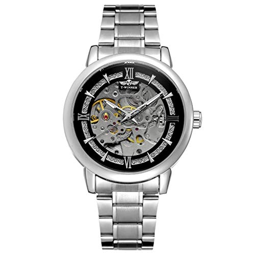 Nncande Aushöhlen Mechanische Uhr Design Geschäfts Mode-männer Stahlgürtels Business Watch Uhr Armbanduhr Uhren Watches Metallarmband Armbanduhren Armband Analoguhr Vatertag Geburtstag Geschenk