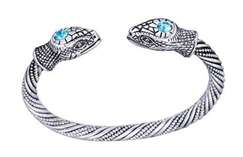 Ancient Viking Serpiente Serpiente Head Torque nórdico Cuff Boho Pulsera para Hombre/Mujer Joyas