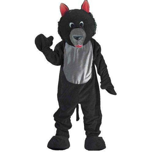 Maskottchen Unternehmens Kostüm - Dress Up America Erwachsenes schwarzes Wolf-Maskottchen-Kostüm