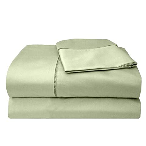 Veratex Legacy Collection 300 Thread Count 100% Egyptian Cotton Sateen Bed Sheet Set With Elegant Stitch Hem Design, King Size, Sage