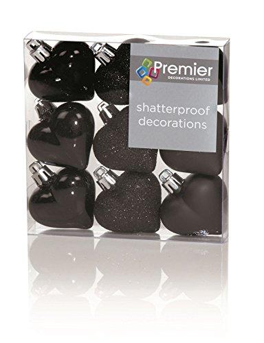 Decorazioni di Natale 9 Confezione da 40 mm Multi Finitura palline Cuore - Nero