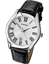 Sekonda 3456 - Reloj para hombres, correa de cuero color negro