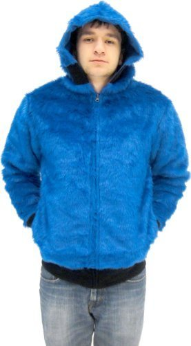 Sesame Street Cookie Monster blau Faux Fur Full Zip Erwachsene Kostüm Hoodie Sweatershirt Jacke (Small) (Cookie Monster Kostüme Für Erwachsene)