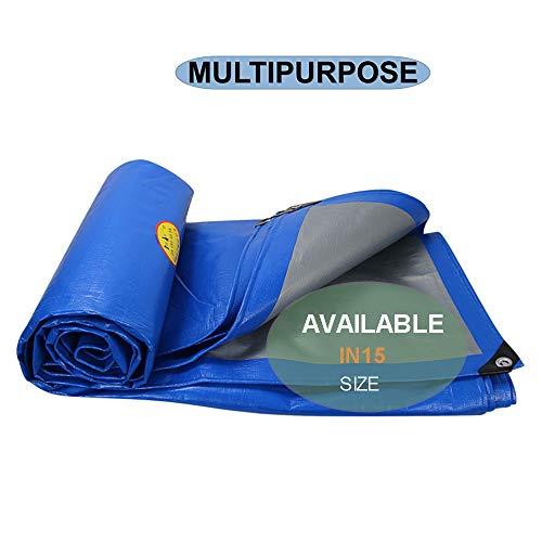 ZQ Leichtes Poly Tarp Abdeckung Silber/Blau, wasserdicht, UV-Schutz Schutzhülle - Tüllen, für Tarpaulin Überdachung-Zelt, Boot, Home Depot, Dach, Camping-3X3