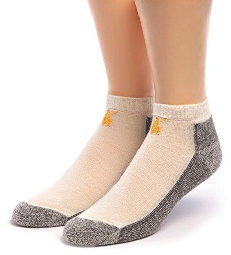 WARRIOR ALPACA SOCKS - Damen Sport Mini Crew Socken aus Alpakawolle - Fußkettchen mit Frottee-gefüttertem Kissen Fußbett - Elfenbein - Large