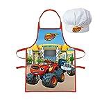 Kinder Küche Chef Set mit Kochschürze Küchenschürze Schürze wählbar Cars Paw Blaze Spiderman- tolles Geschenk für Jungen (Blaze)