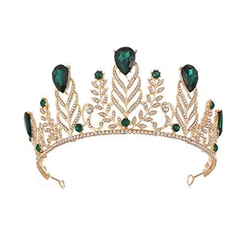 Hochzeitskrone für Braut Prinzessin Krone Tiara Prom Queen Crown Quinceanera Festzug Kronen Prinzessin Crown Strass Crystal Bridal Crowns Diademe Accessoires Kopfschmuck (Color : Green)