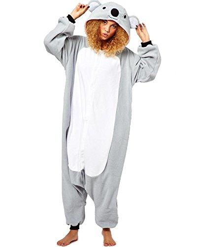 Kostüm Koala (SAMGU Koala Unisex Adult Tier Onesie Pyjama Kostüm Kigurumi Schlafanzug Erwachsene Tieroutfit Jumpsuit Farbe Gra U Größe)